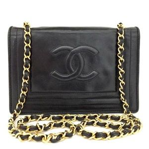 💯 Auth CHANEL CC Logo Lambskin Chain Shoulder Bag